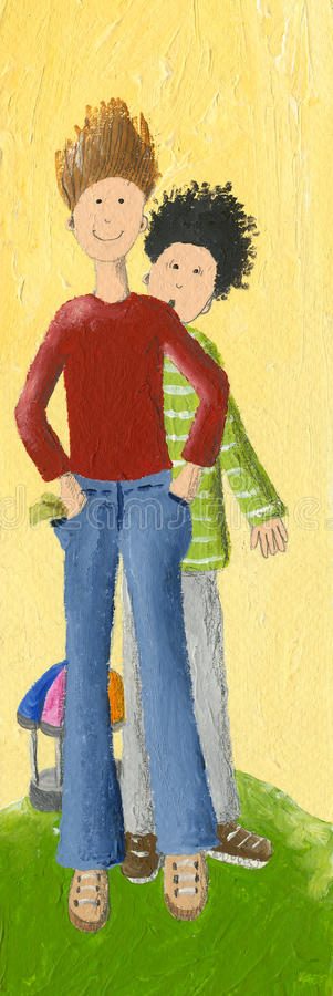 Download Two boys stock illustration. Image of smile, outdoor - 33166922