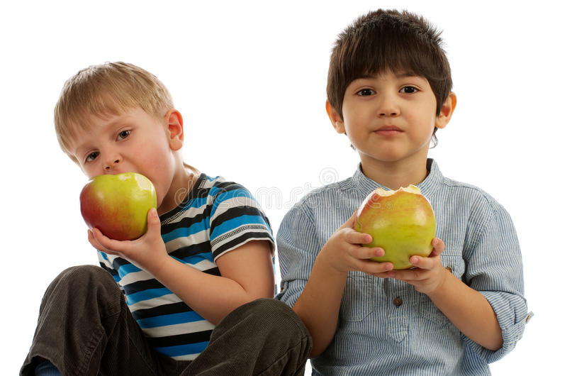 Two Boys with Apples royalty free stock image