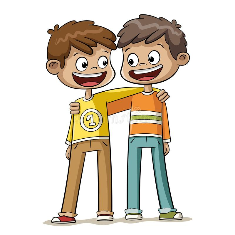 Two Boys are Best Friends. Two boys are the best friends. Hand drawn vector illustration royalty free illustration
