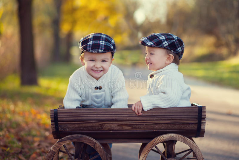 Two boys in a carriage royalty free stock photo
