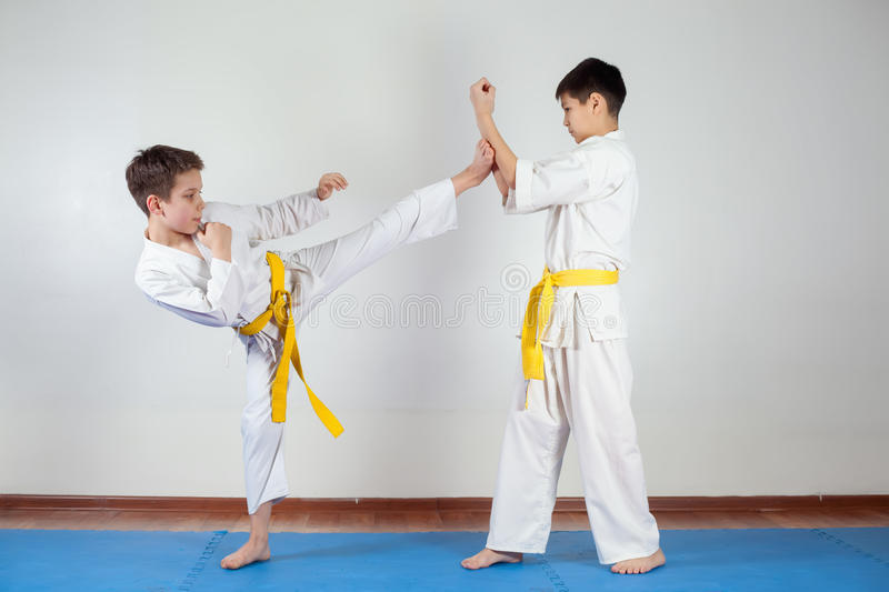 Two boys demonstrate martial arts working together royalty free stock photography