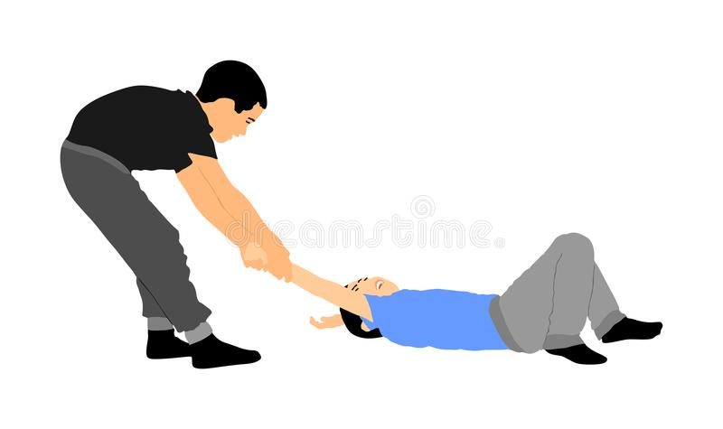 Two boys fighting silhouette. Two young brothers fight illustration. Angry kid terror. Street hitting and punching after school. Bully abused neighbor kid vector illustration
