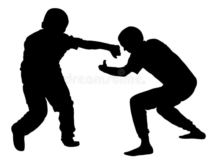 Two boys fighting silhouette. Two young brothers fight illustration. Angry kid terror. Street hitting and punching. royalty free illustration