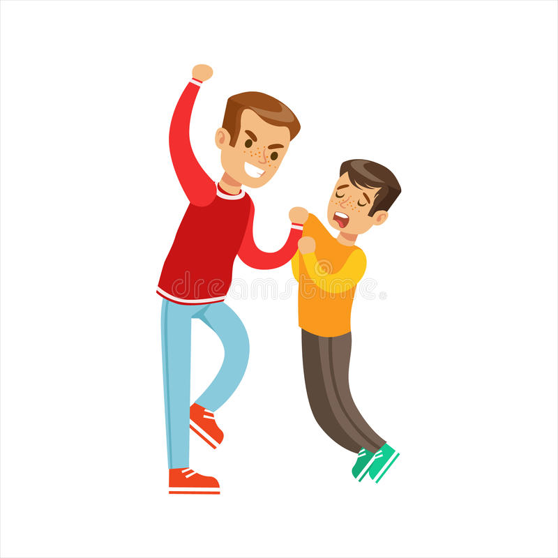 Two Boys Fist Fight Positions, Aggressive Bully In Long Sleeve Red Top Fighting Another Kid Who Smaller And Weaker vector illustration