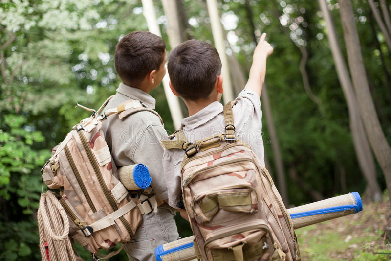 Two boys go hiking with backpacks on a forest road bright sunny. Excited children on a camping trip in green forest stock images