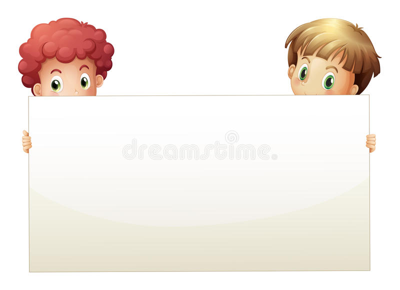 Download Two Boys Holding An Empty Banner Stock Photo - Image: 32330970