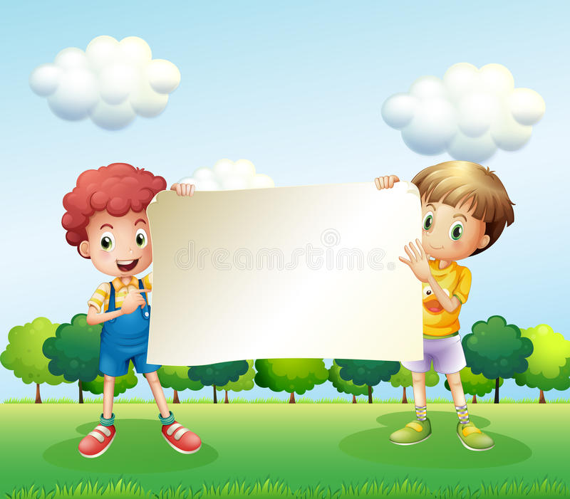 Two boys holding an empty signboard. Illustration of the two boys holding an empty signboard vector illustration