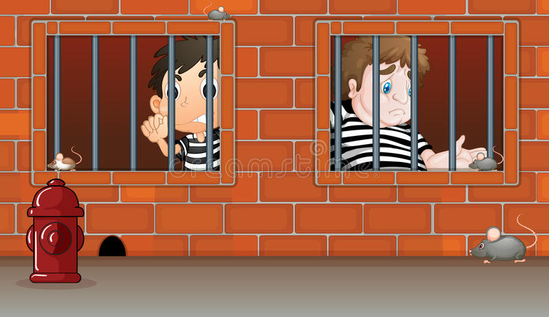 Two boys inside the jail. Illustration of the two boys inside the jail royalty free illustration