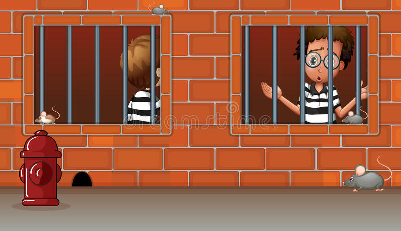 Two boys inside the jail royalty free illustration