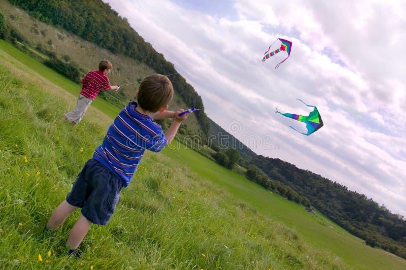 Two boys with kites. royalty free stock photo