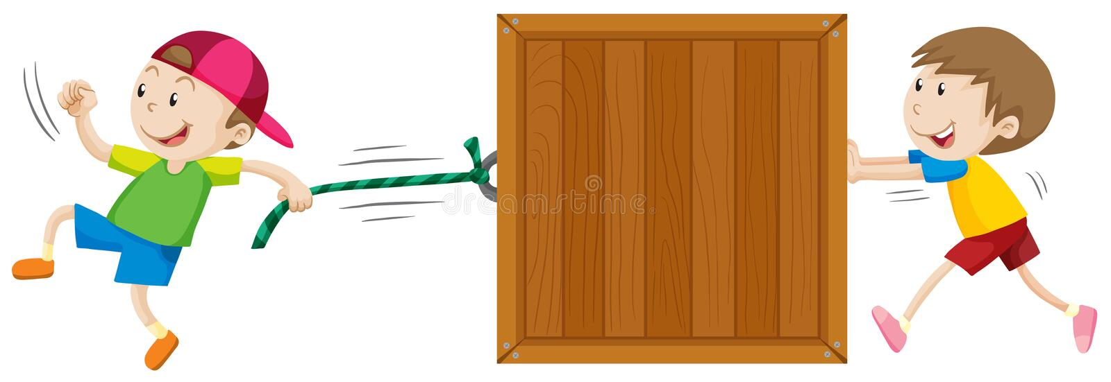 Two boys moving wooden box vector illustration