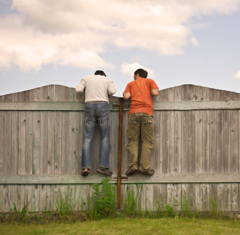 Free Two Boys On The Fence Looking For Smth Stock Images - 8873444