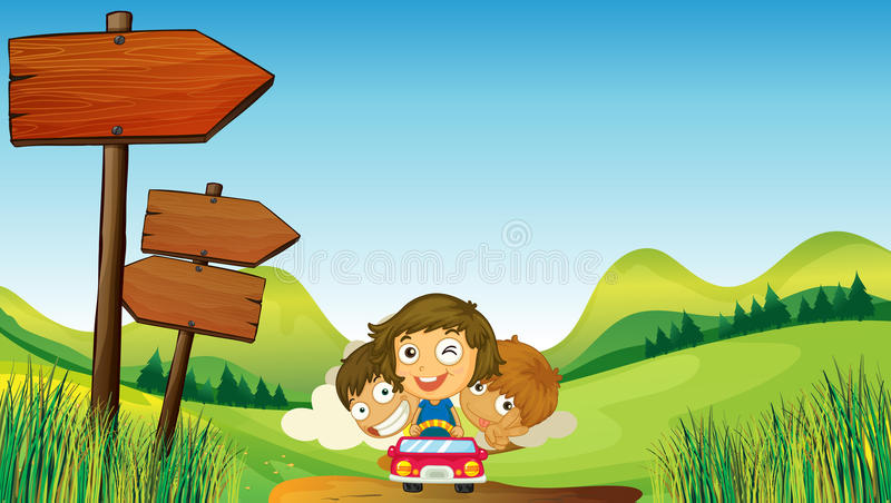 Two boys with a one young girl riding. Illustration of two boys with a young girl riding on a car stock illustration