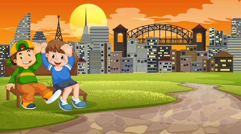 Two boys on park bench. Illustration stock illustration