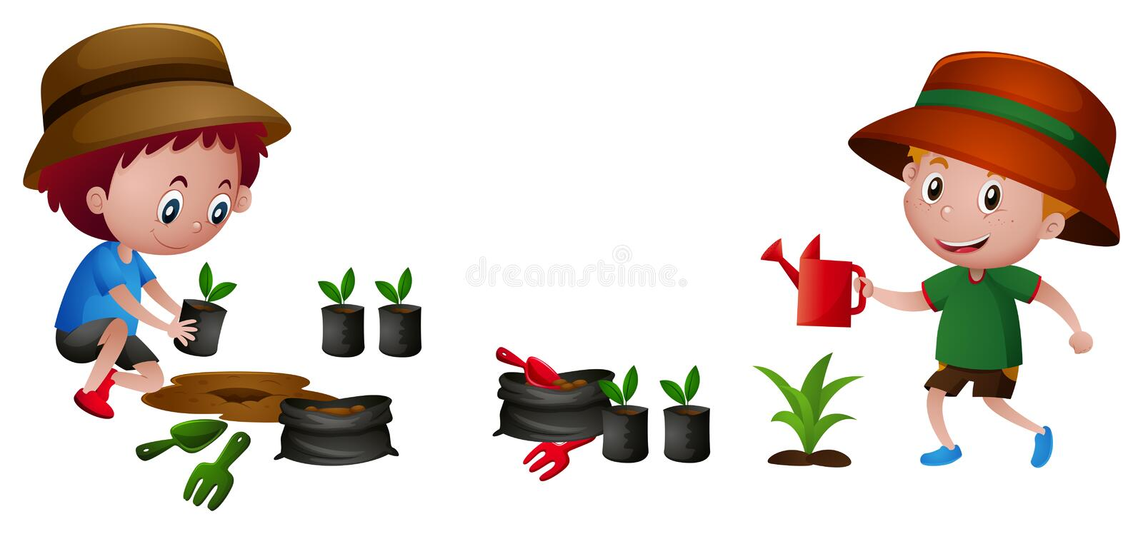 two boys planting tree stock vector illustration of clipart rh dreamstime com tree planting clipart tree planting clipart