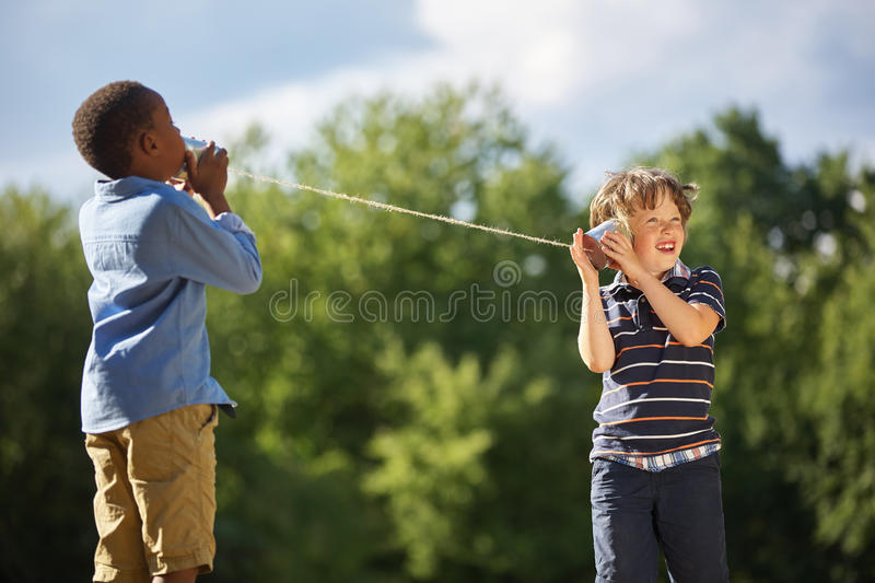 Two boys play royalty free stock photography