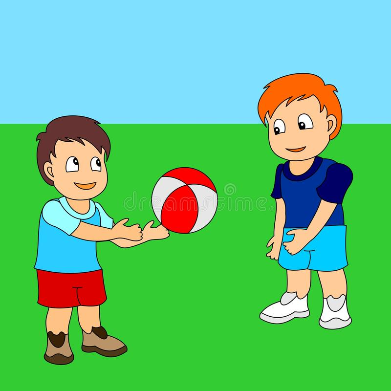 Two boys playing ball. Vector illustration of a little boys playing sports royalty free illustration