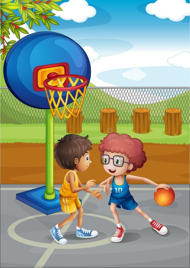 Two boys playing basketball at the basketball court. Illustration of the two boys playing basketball at the basketball court vector illustration