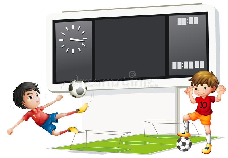 Two boys playing soccer with a scoreboard. Illustration of the two boys playing soccer with a scoreboard on a white background stock illustration