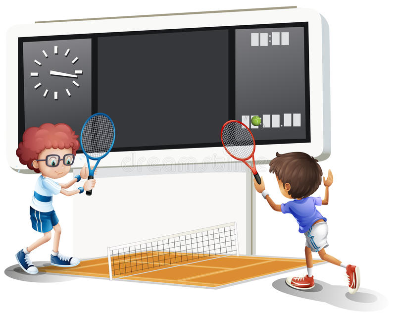 Two boys playing tennis with a big scoreboard. Illustration of the boys playing tennis with a big scoreboard on a white background stock illustration