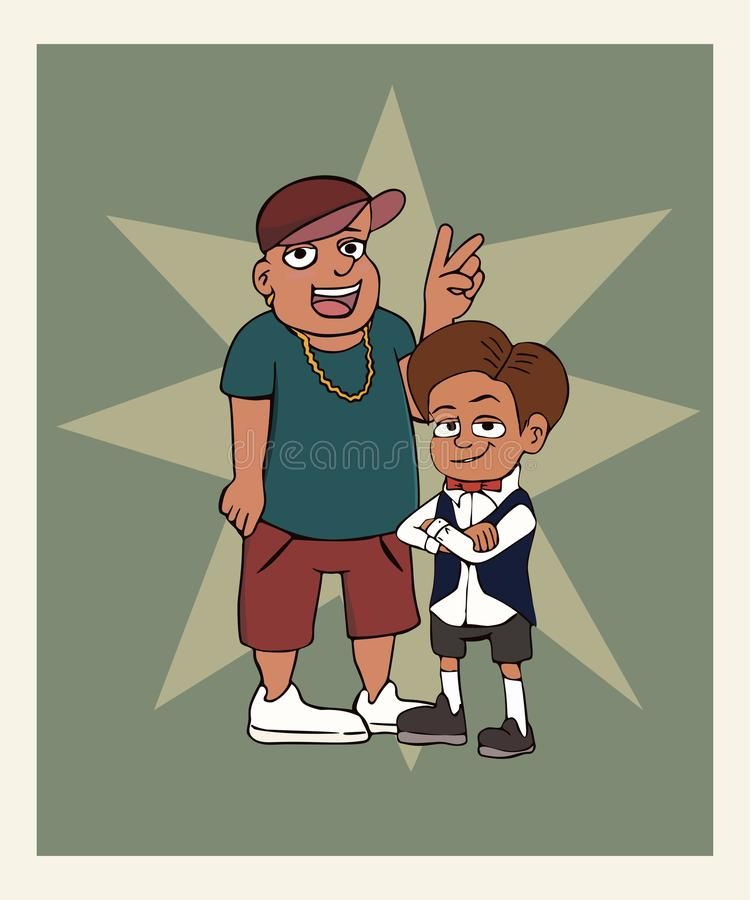 Two boys posing in the photo. Funny vector cartoon of two different characters royalty free illustration