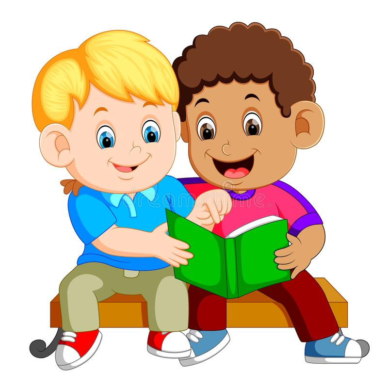 Two boys reading book on bench royalty free illustration