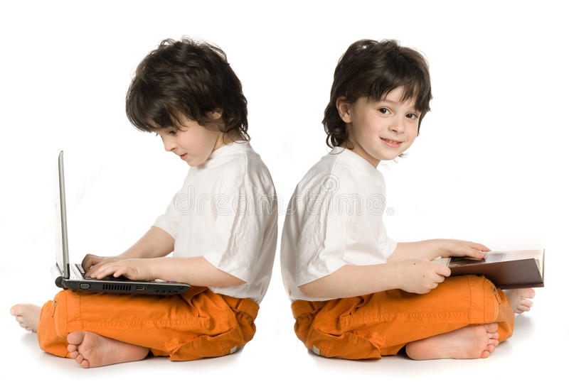 Two boys (reflecnbon) stock images