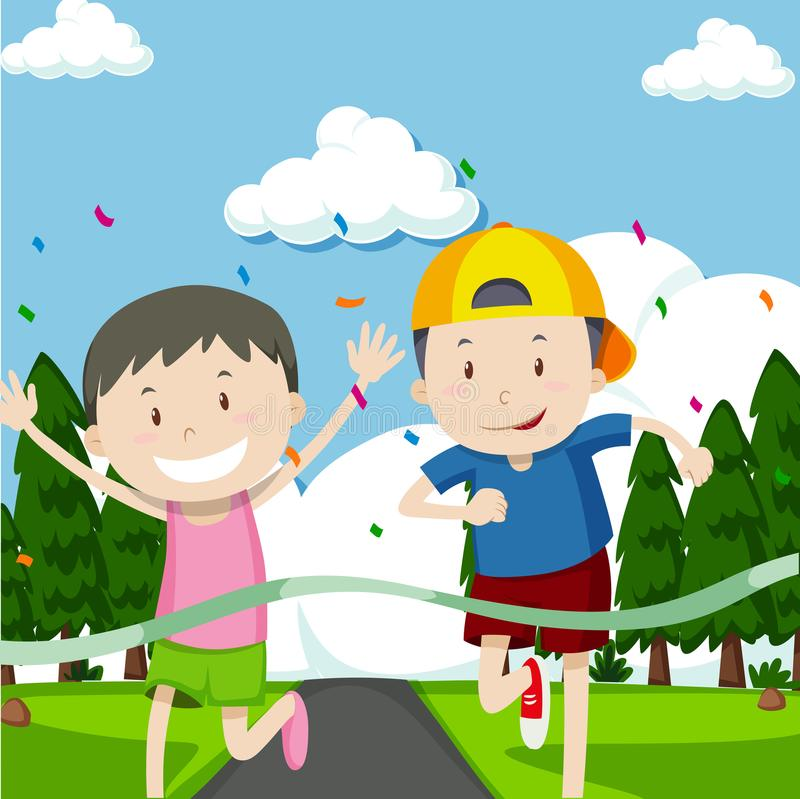 Two boys running in race stock illustration