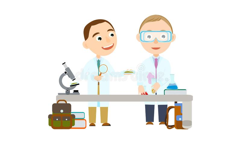 Two boys at school or university. Student in the lesson of science conduct biologic and chemical experiments. Conducting experiments. Cute Vector Illustration vector illustration