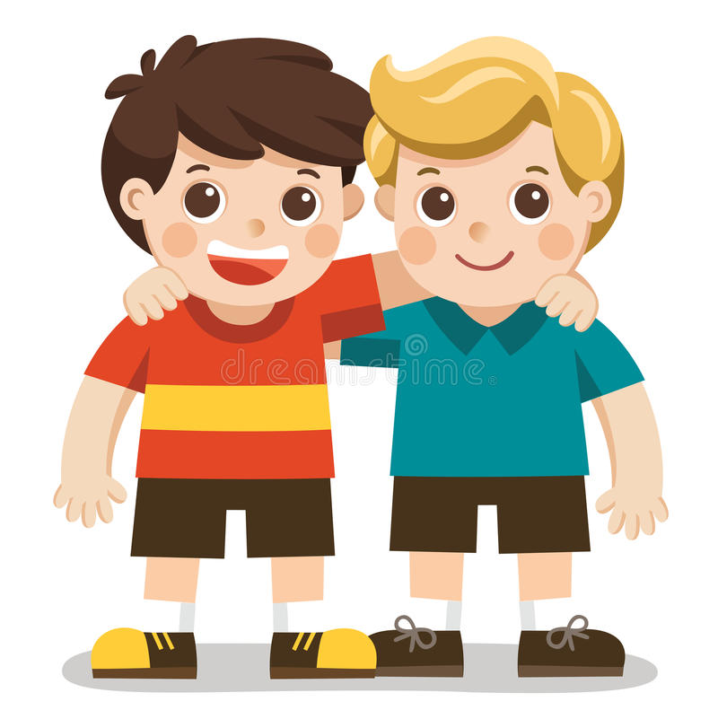 Two boys smile, hugging. Happy kids best friends. vector illustration