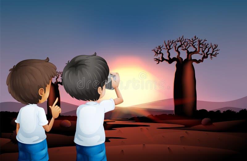 Two boys taking photos at the desert. Illustration of the two boys taking photos at the desert royalty free illustration