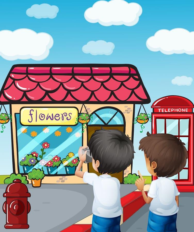 Two boys taking photos near the flower shop. Illustration of the two boys taking photos near the flower shop vector illustration