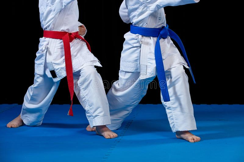 Two boys training karate kata exercises at test qualification.  royalty free stock images
