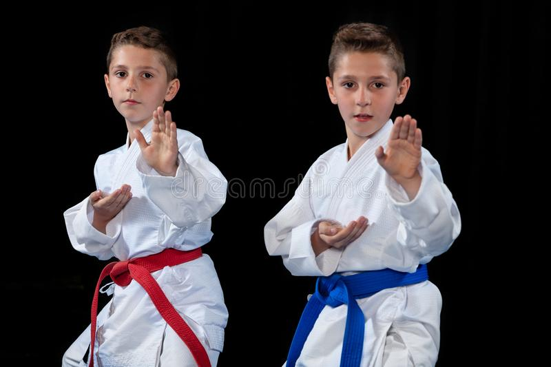 Two boys training karate kata exercises at test qualification.  royalty free stock image