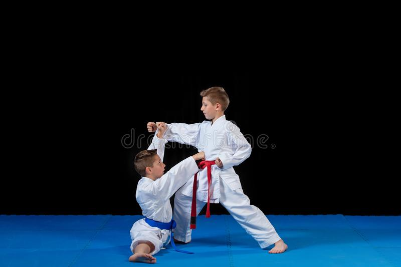 Two boys training karate kata exercises at test qualification.  royalty free stock photography
