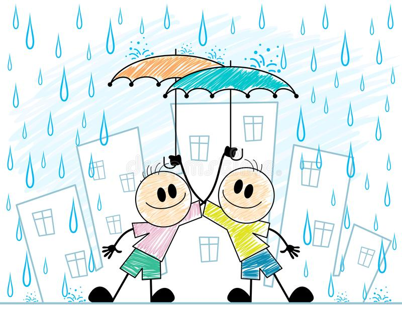 Two boys with umbrellas. Vector illustration of two boys with umbrellas stock illustration