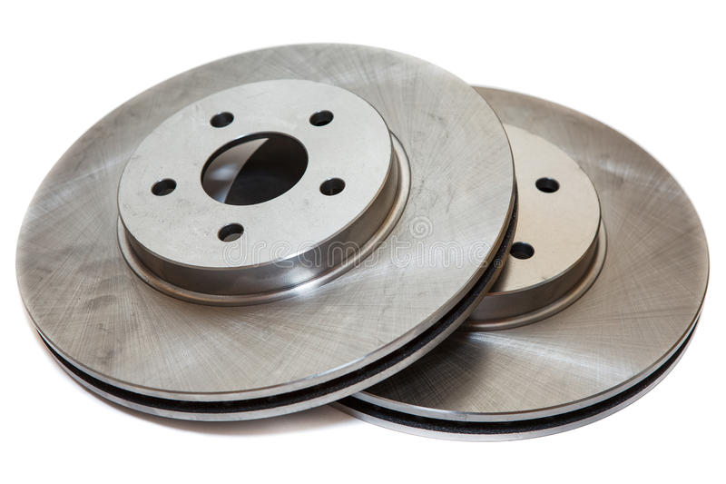 Two brake disks isolated on white background royalty free stock images