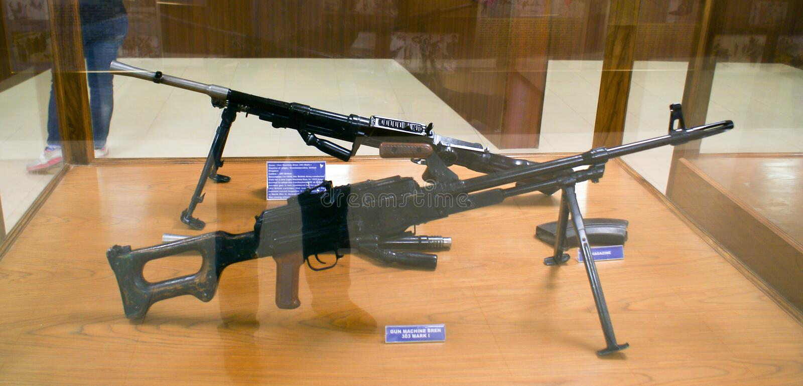 Two Bren Machine Gun 303 Mark I weapon with magazines on display at Hall of Fame, Leh. Two Bren Machine Gun 303 Mark I weapon alongwith magazines on display at royalty free stock image