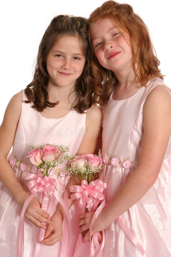 Two Bridal Sisters Full. Full shot of two sisters in gowns stock photography