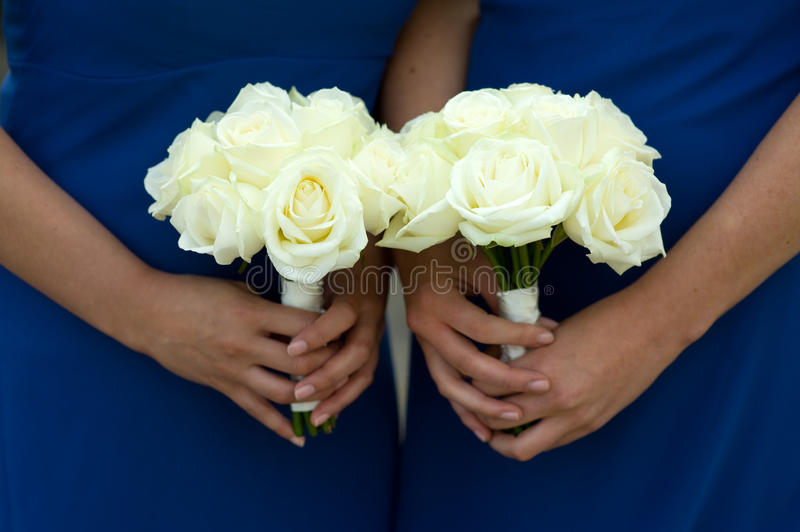 Two bridesmaids hold wedding bouquets. Bridesmaids in blue dresses holding a white rose wedding bouquet royalty free stock photos