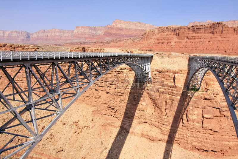 Two bridges acros Colorado river. Two bridges across Colorado river, scenic landscape stock photography