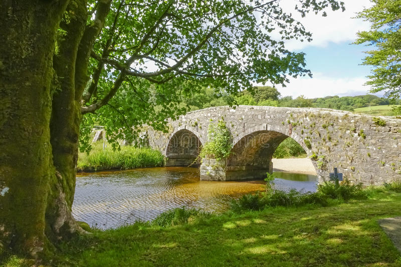 Two-bridges Dartmoor Devon England UK. Two -bridges Dartmoor,National-park Devon England UK sunny summers afternoon royalty free stock photo