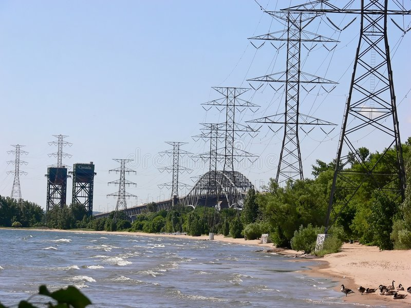 Two bridges and hydro tower stock photo