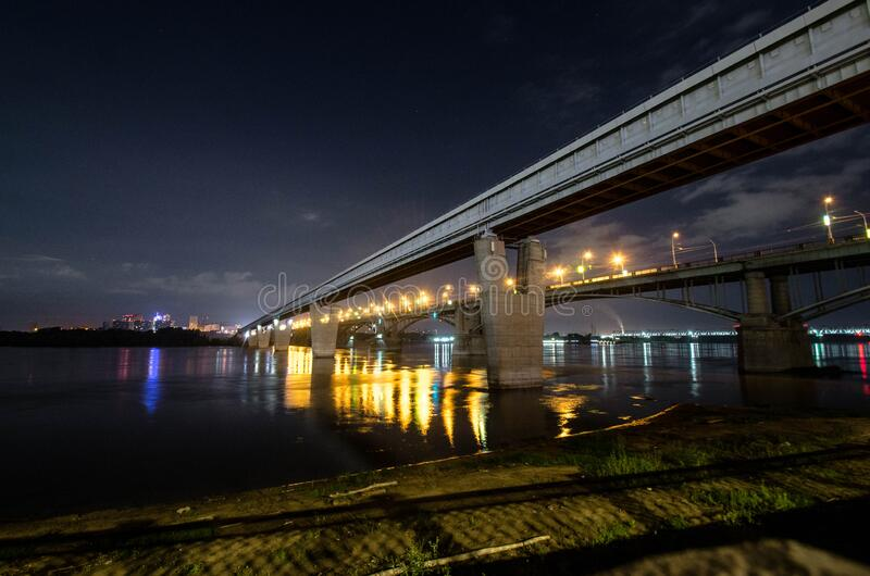 Two bridges over the Ob river stock photography
