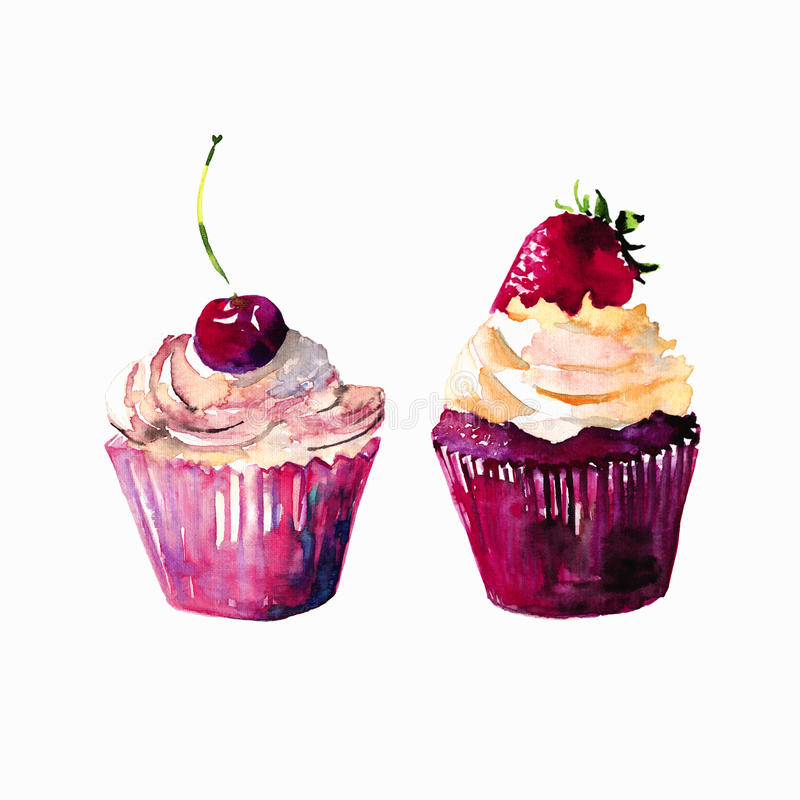 Two bright beautiful tender delicious tasty chocolate yummy summer dessert cupcakes with cream red cherry and strawberry vector illustration