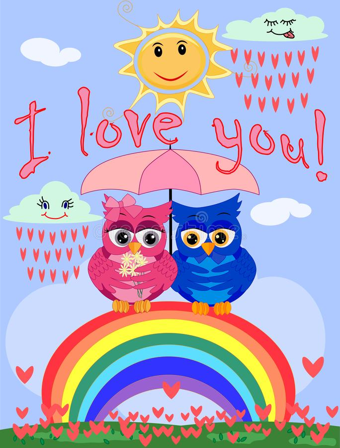 Two bright, cartoon, beautiful owls pink and blue, a girl and a boy with beautiful eyes are sitting under an umbrella on a seven- vector illustration