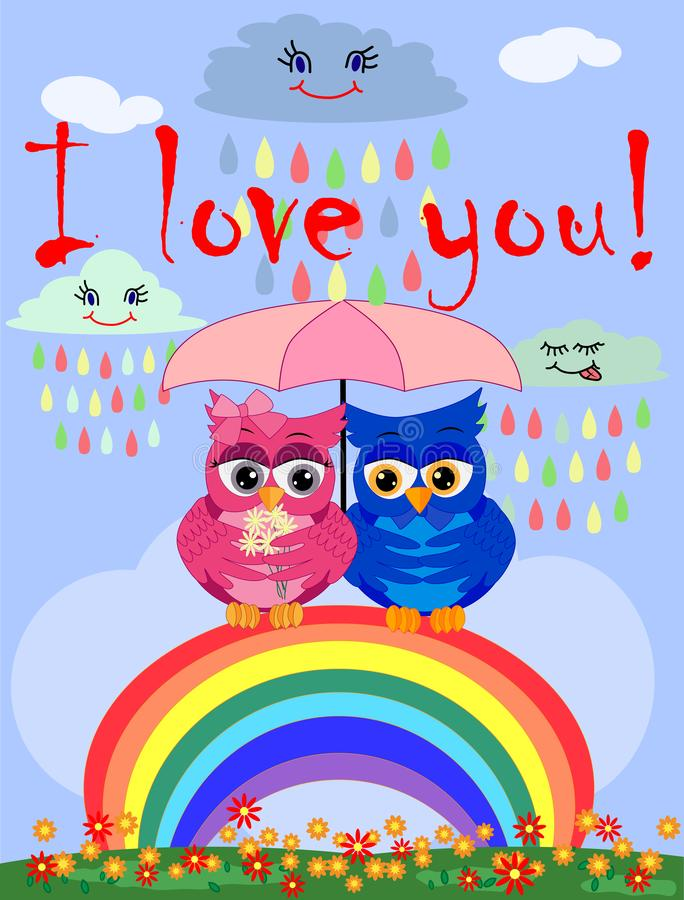 Two bright, cartoon, beautiful owls pink and blue, a girl and a boy with beautiful eyes are sitting under an umbrella on a seven- stock illustration