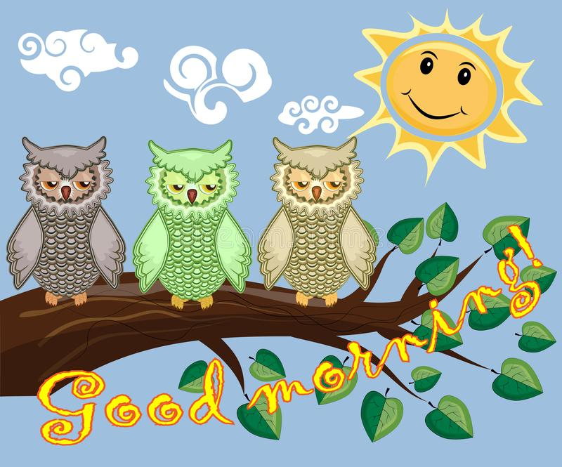 Two bright, cartoon, lovely, colorful owl-girls drink coffee on a flowering branch of a tree. Morning, breakfast. An unhappy, sleepy owl on a tree branch in the royalty free stock photo
