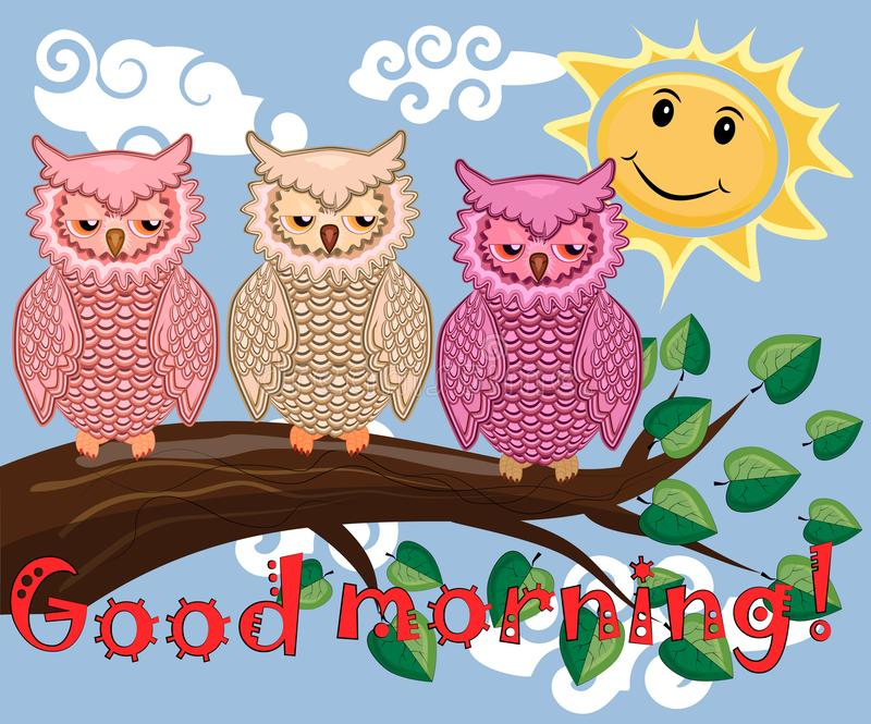 Two bright, cartoon, lovely, colorful owl-girls drink coffee on a flowering branch of a tree. Morning, breakfast. An unhappy, sleepy owl on a tree branch in the royalty free stock photography