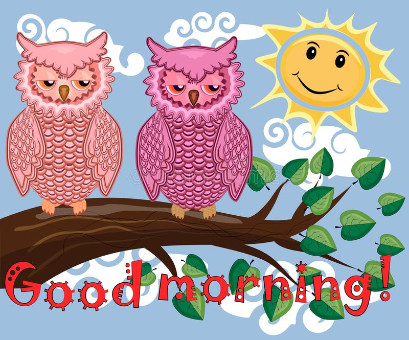 Two bright, cartoon, lovely, colorful owl-girls drink coffee on a flowering branch of a tree. Morning, breakfast. An unhappy, sleepy owl on a tree branch in the royalty free stock photos